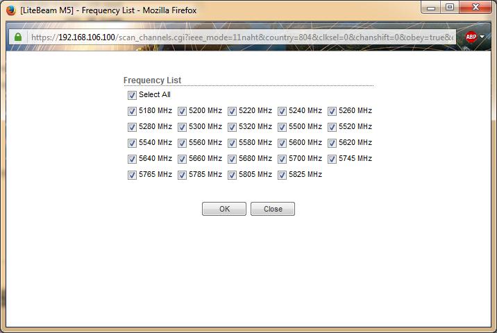 LBE-M5-23 список частотных диапазонов