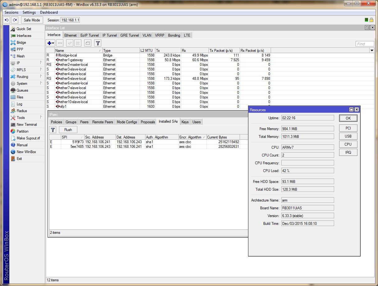 RB3011, IPSec 128-bit AES, duplex
