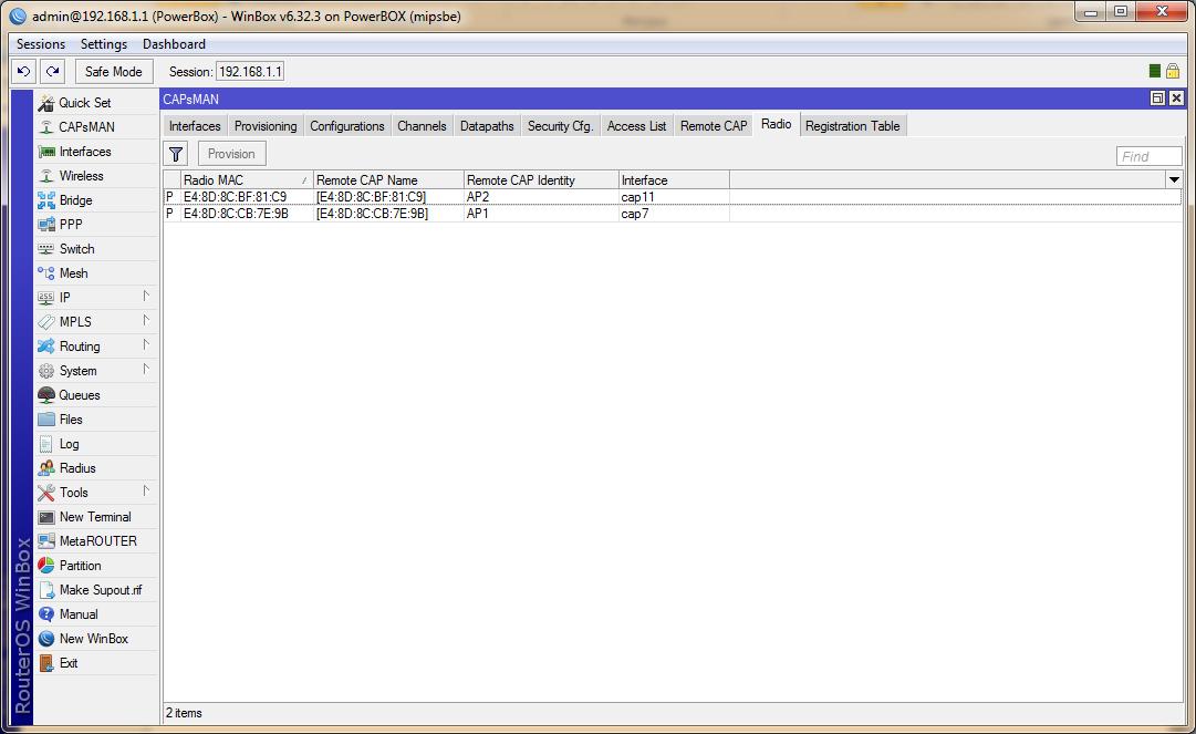 сопоставление точек доступа и интерфейсов CAPsMAN