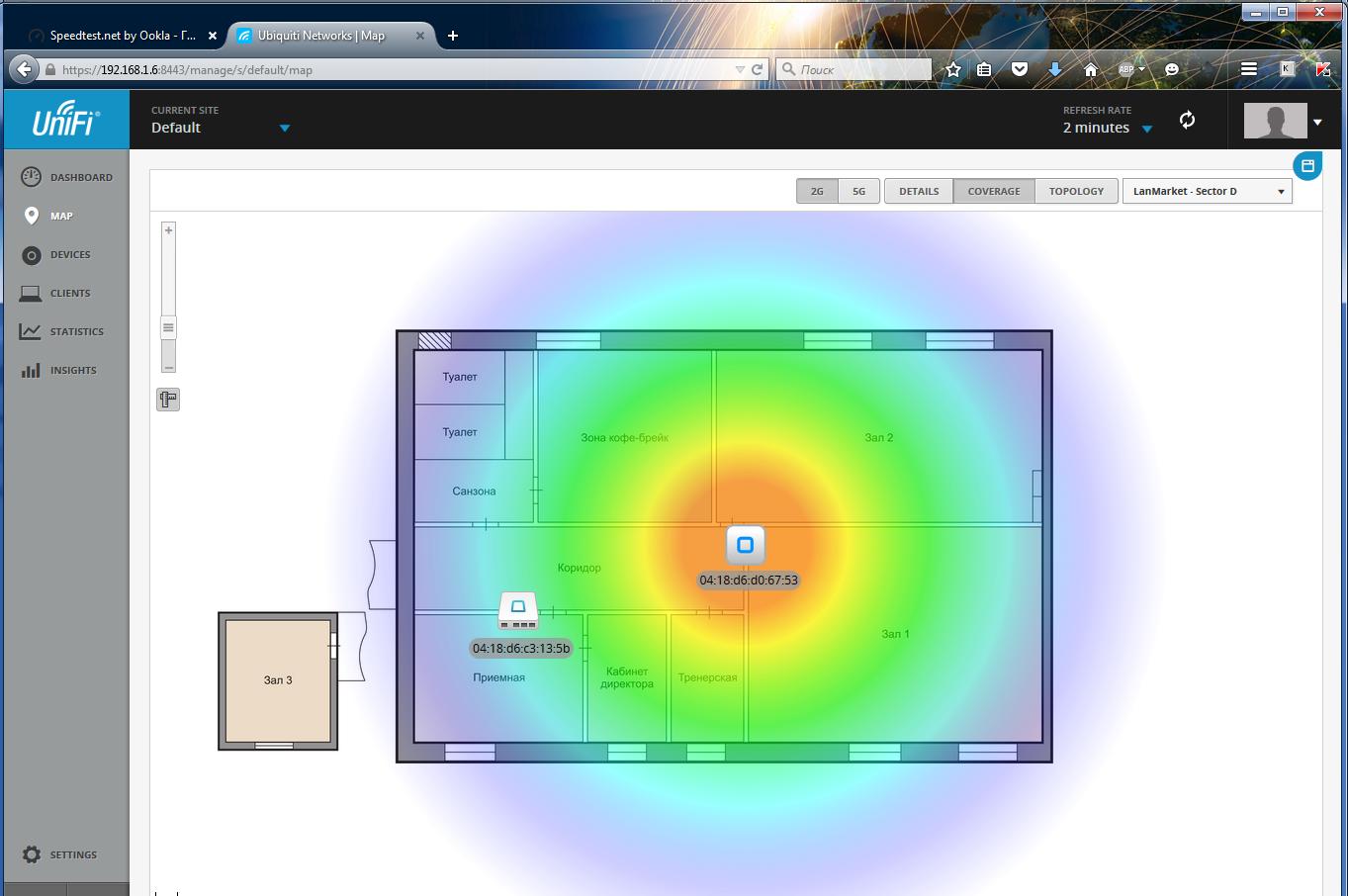 UniFi Controller покрытие Wi-Fi на карте