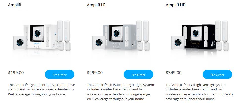 Модели AmpliFI от Ubiquiti Networks