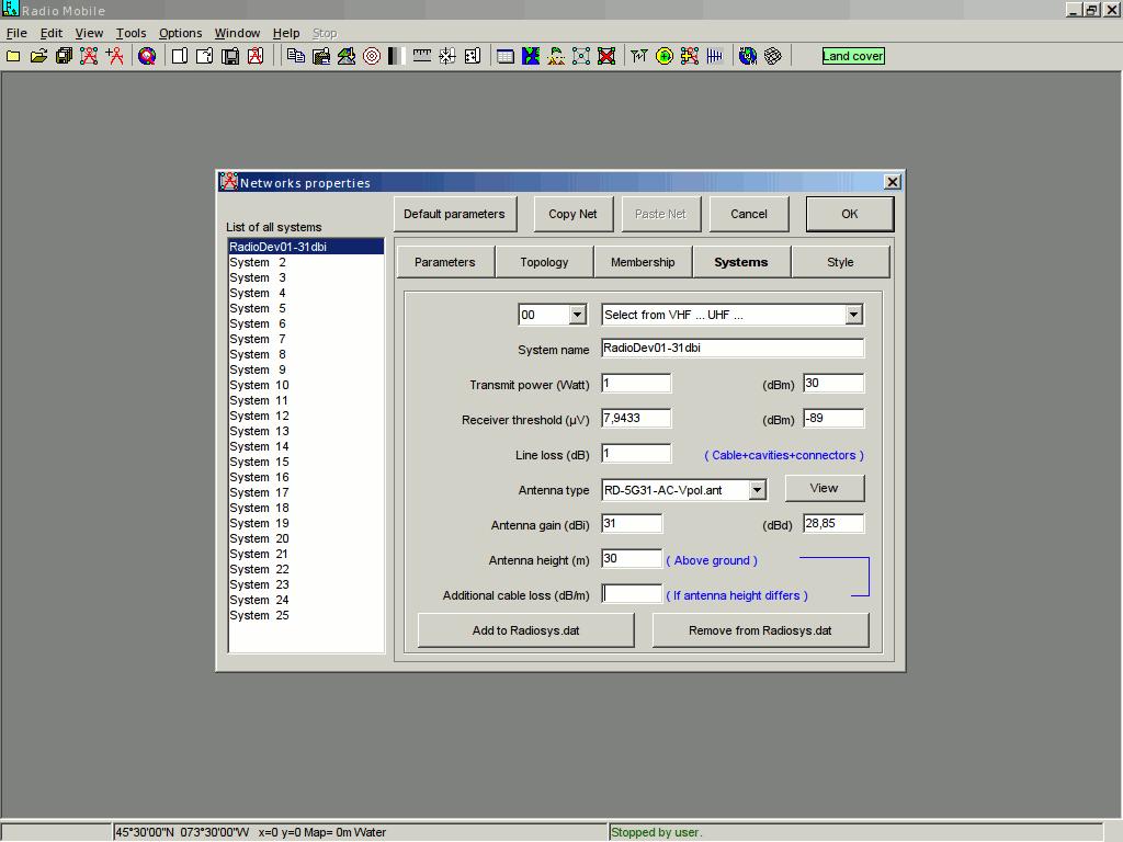 radio mobile редактируем параметры системы