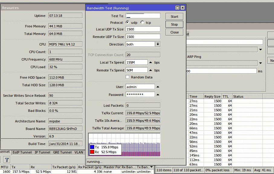 Пропускная способность ePMP 1000, 40 МГц, UL/DL Ratio =25/75, UDP дуплекс, 17 км