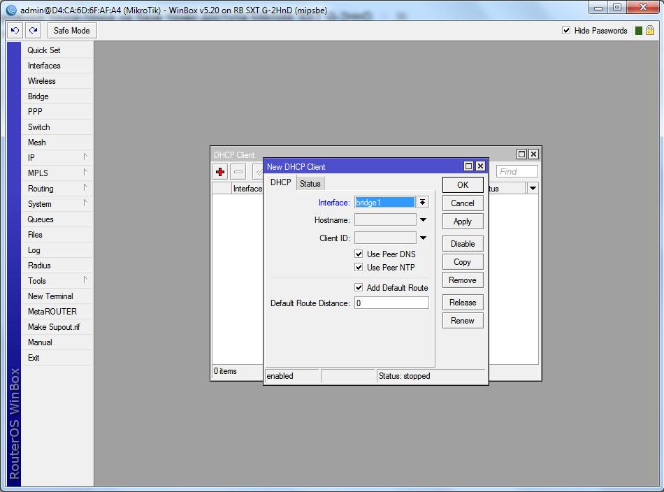 Mikrotik SXT G-2HnD настройка DHCP Client