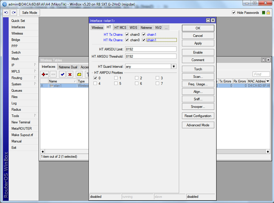 Mikrotik SXT G-2HnD настройка wlan интерфейса