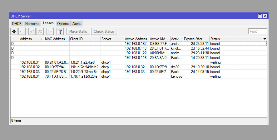 Setting up a DHCP server