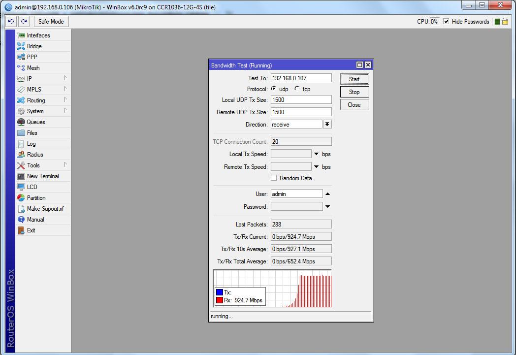 Тест пропускной способности sfp интерфейса