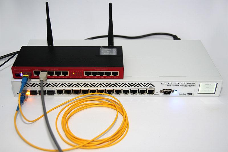 оптоволоконное соединение через SFP модуль