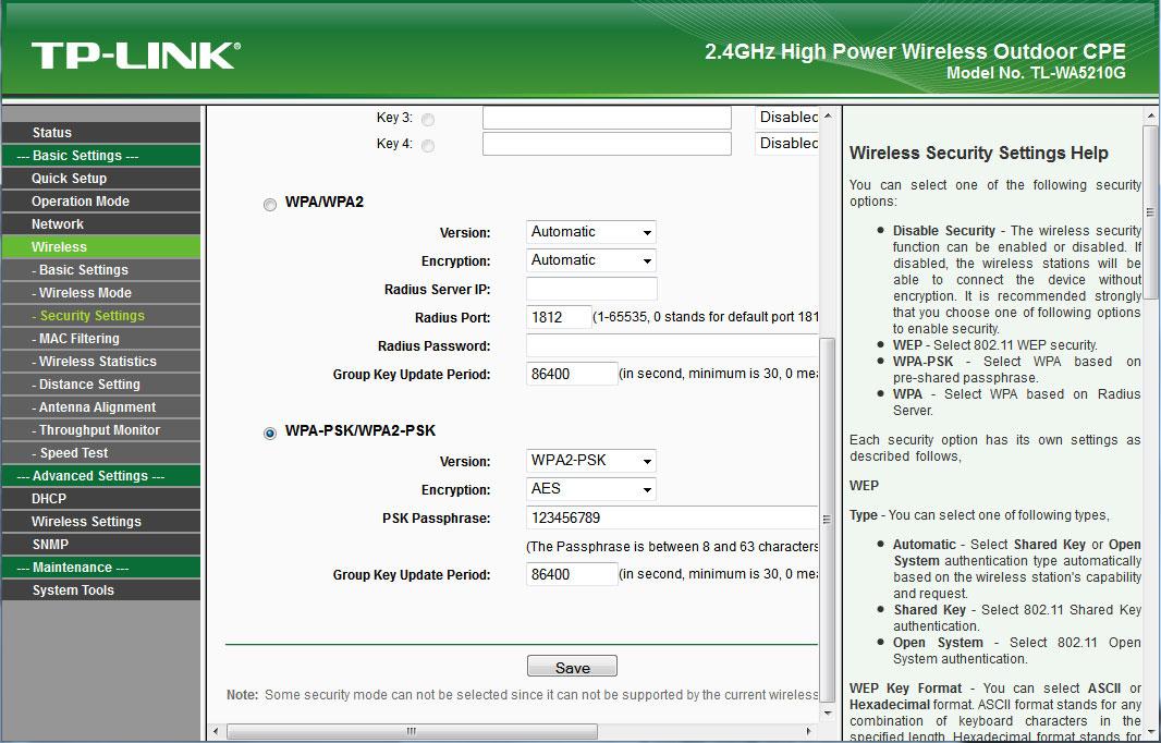 TP-Link 5210G wireless шифрование