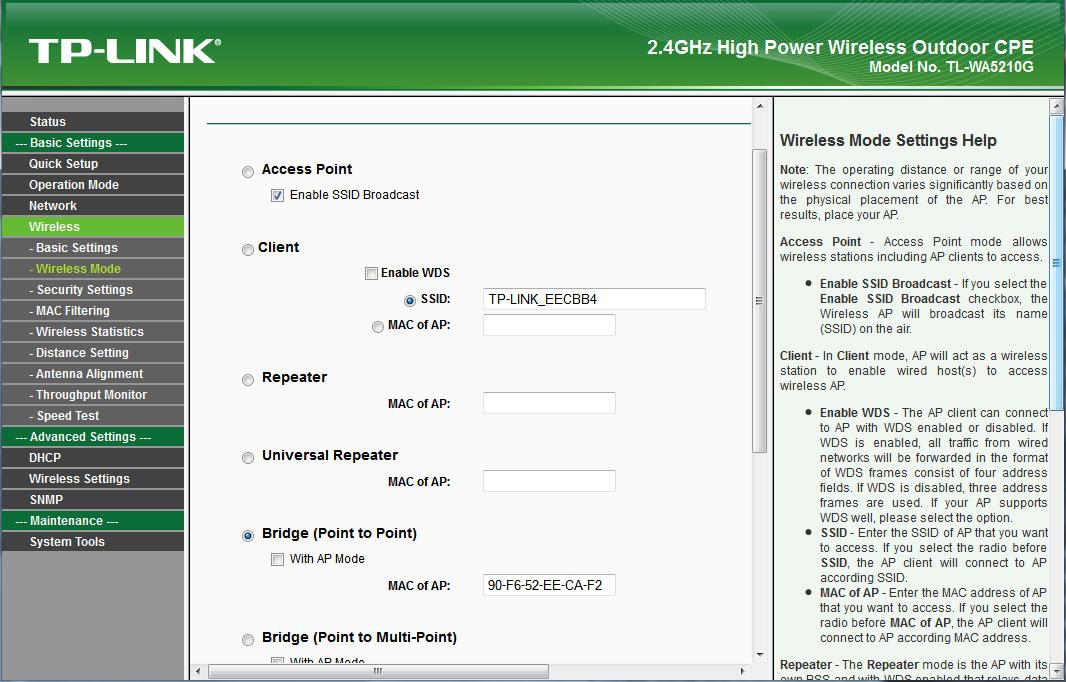 TP-Link 5210G wireless mode bridge