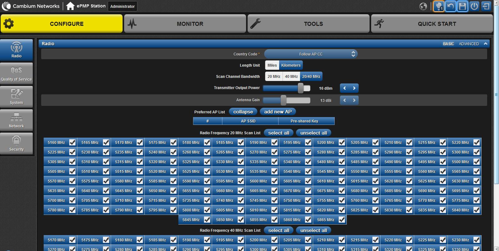 Настройки вкладки Radio web-интерфейса ePMP 1000 Integrated Radio