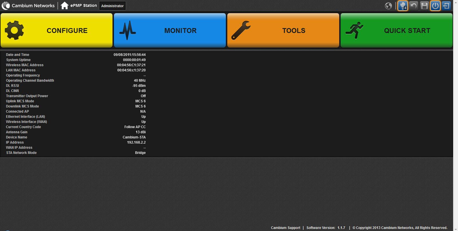 Главная страница web-интерфейс настройки ePMP 1000 Integrated Radio