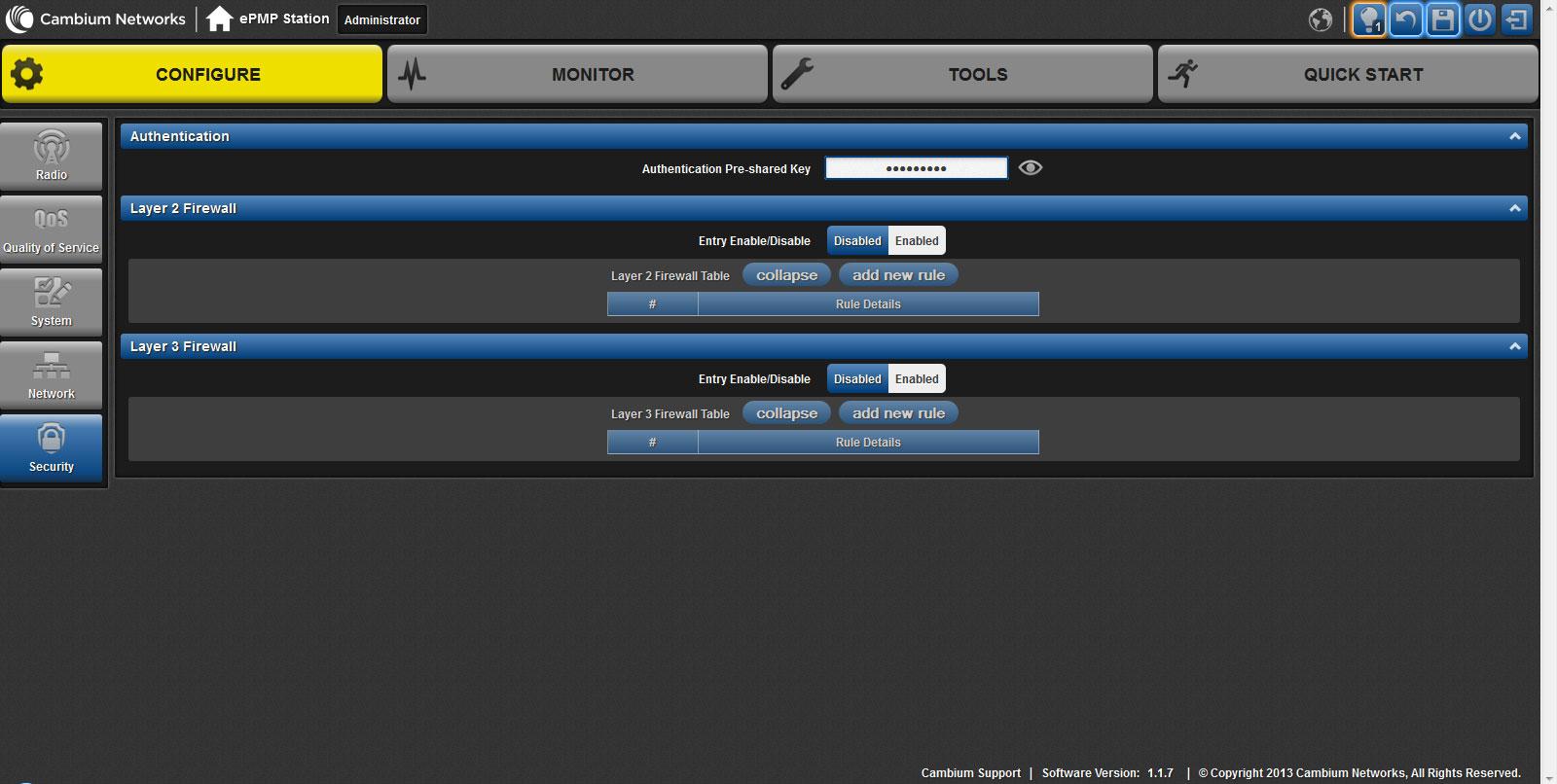 Настройки раздела Security web-интерфейса ePMP 1000 Integrated Radio
