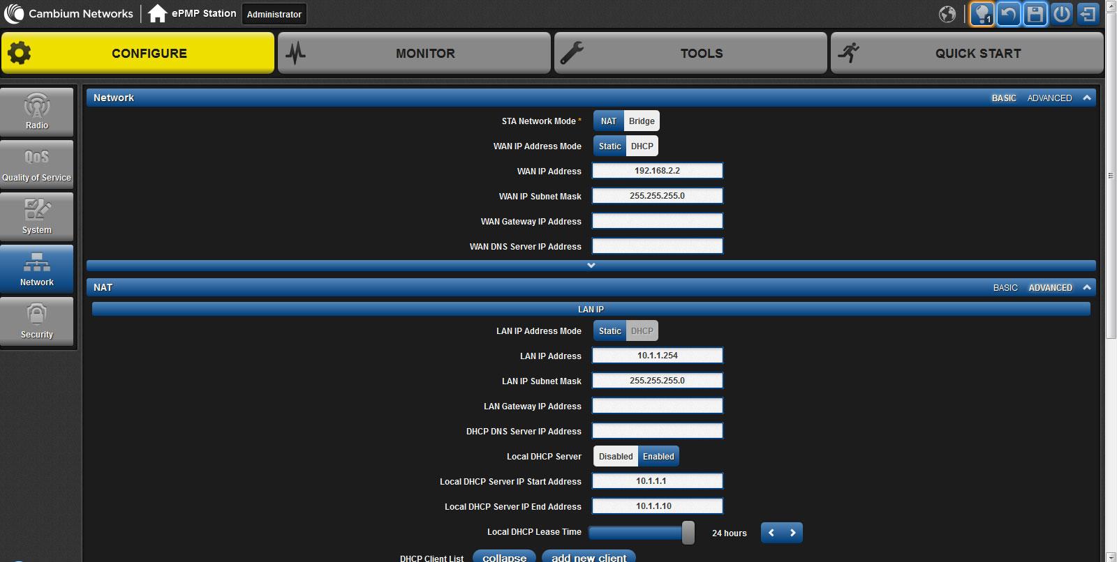 Настройки раздела Network web-интерфейса ePMP 1000 Integrated Radio