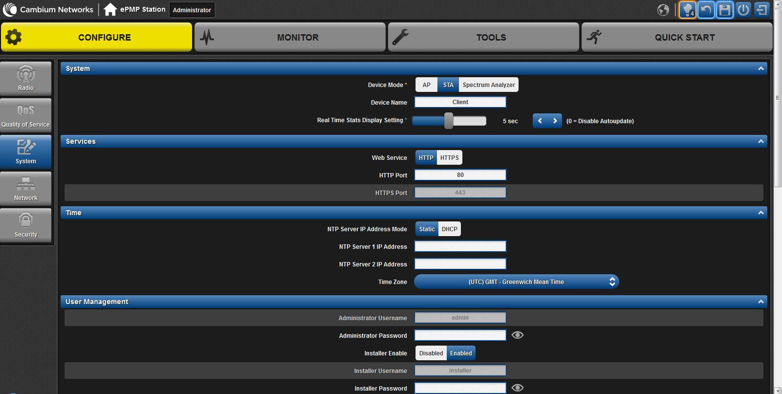 Вкладка system web-интерфейса настройки ePMP 1000 Integrated Radio
