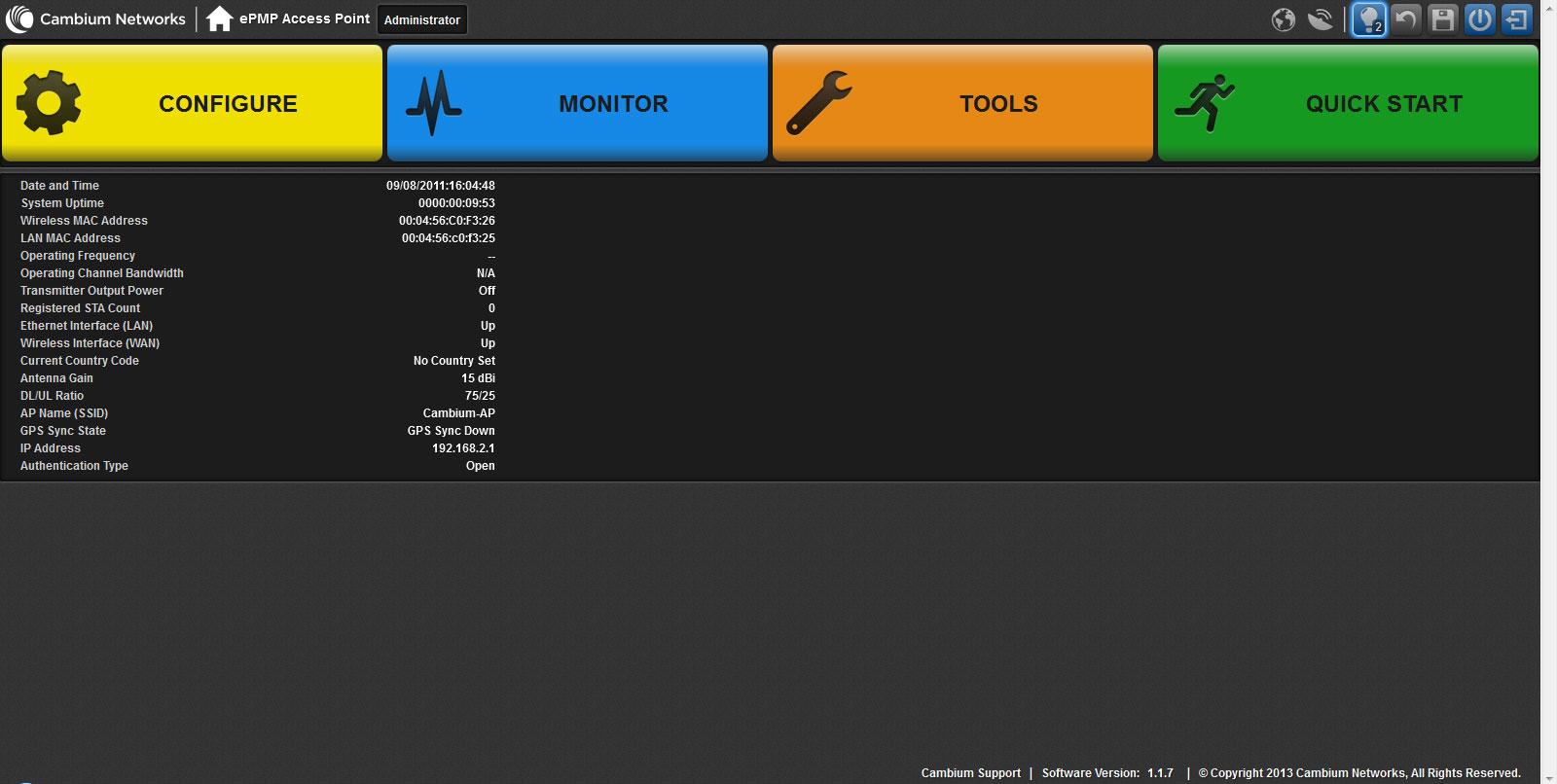 Главная страница web-интерфейса upravlenia ePMP-1000 GPS Sync