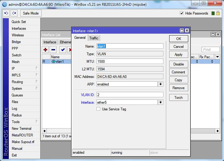 создание виртуального интерфейса routeros
