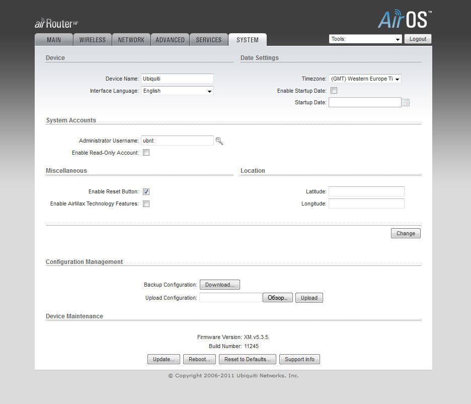 Ubiquiti AirRouter-HP настройка AirOS