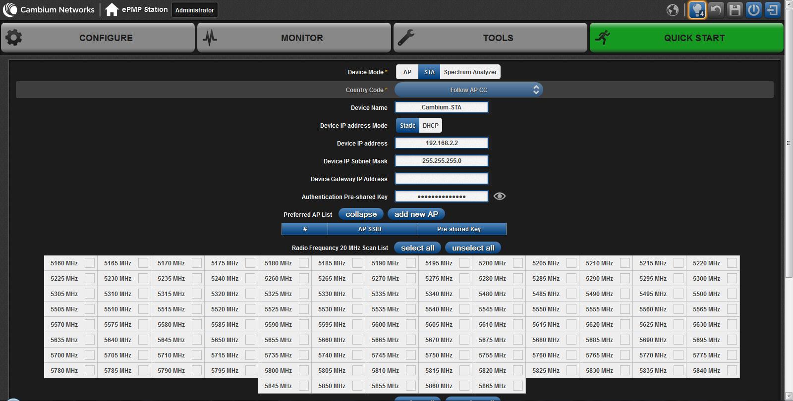 Настройка протокола HTTRs для Cambium Networks ePMP-1000