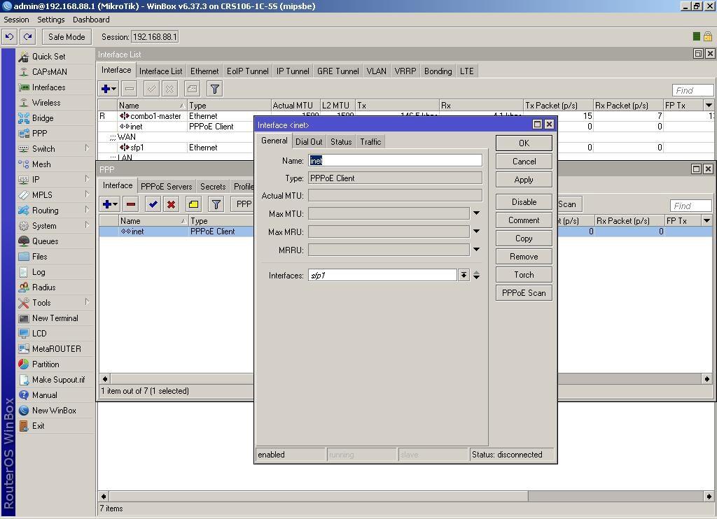 WinBox вводим параметры