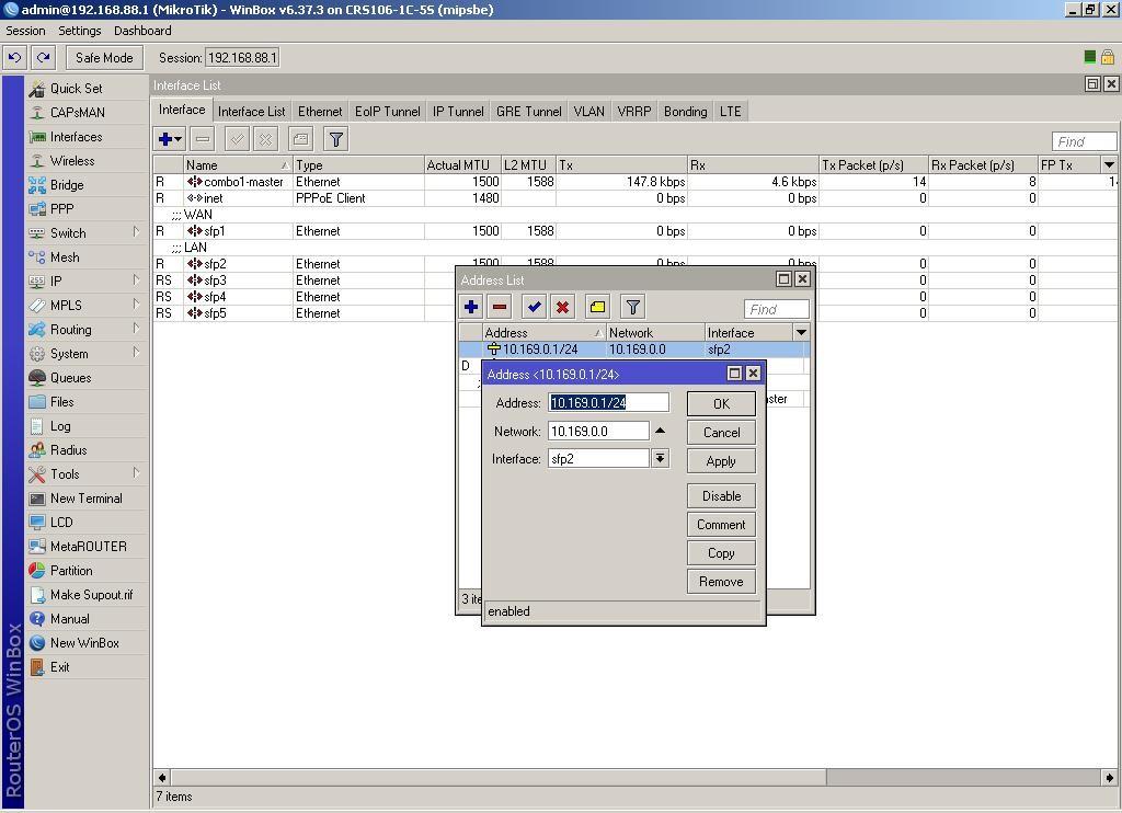 WinBox добавляем новую сеть 10.169.0.1 на интерфейсе sfp2