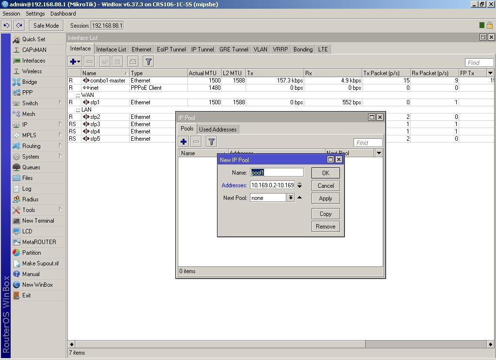 WinBox Далее в IP-Pool добавляем новый пул 10.169.0.2-10.169.0.200 и называем его pool1