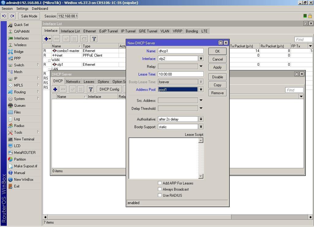WinBox добавляем новый сервер DHCP на интерфейсе sfp2