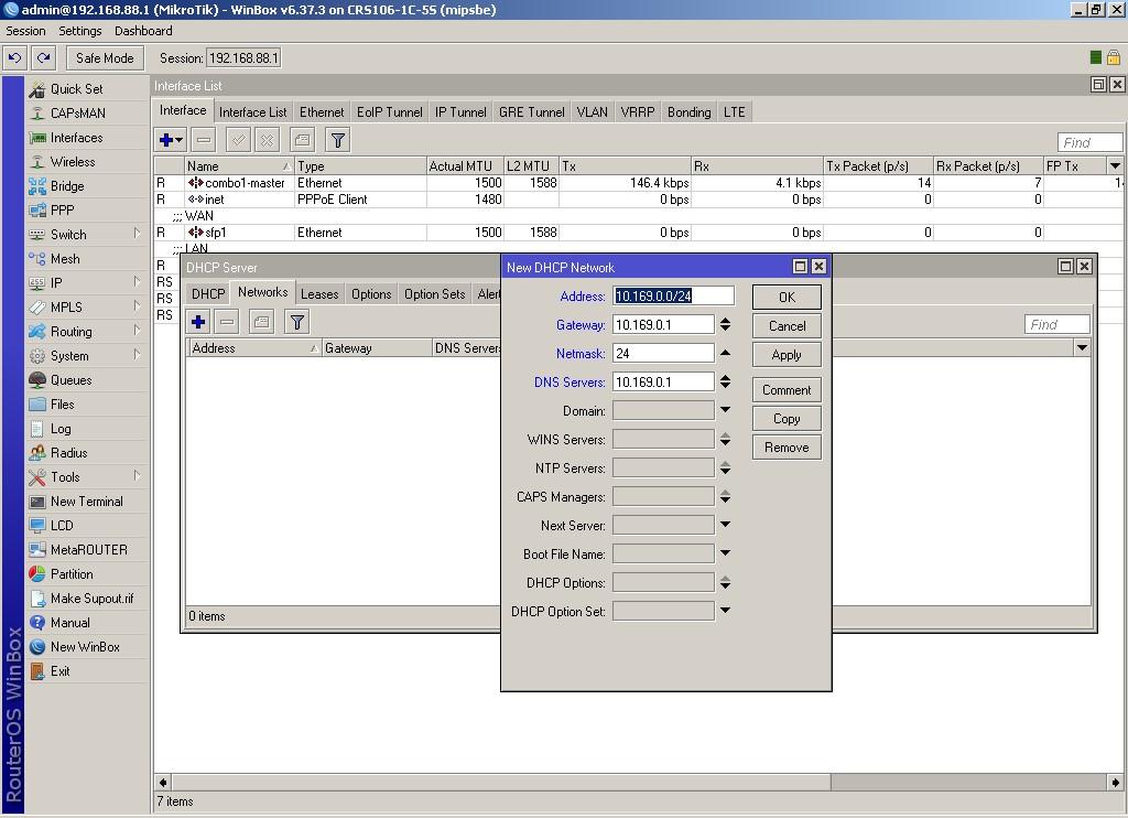 WinBox выбираем параметры, которые будут выдаваться пользователям