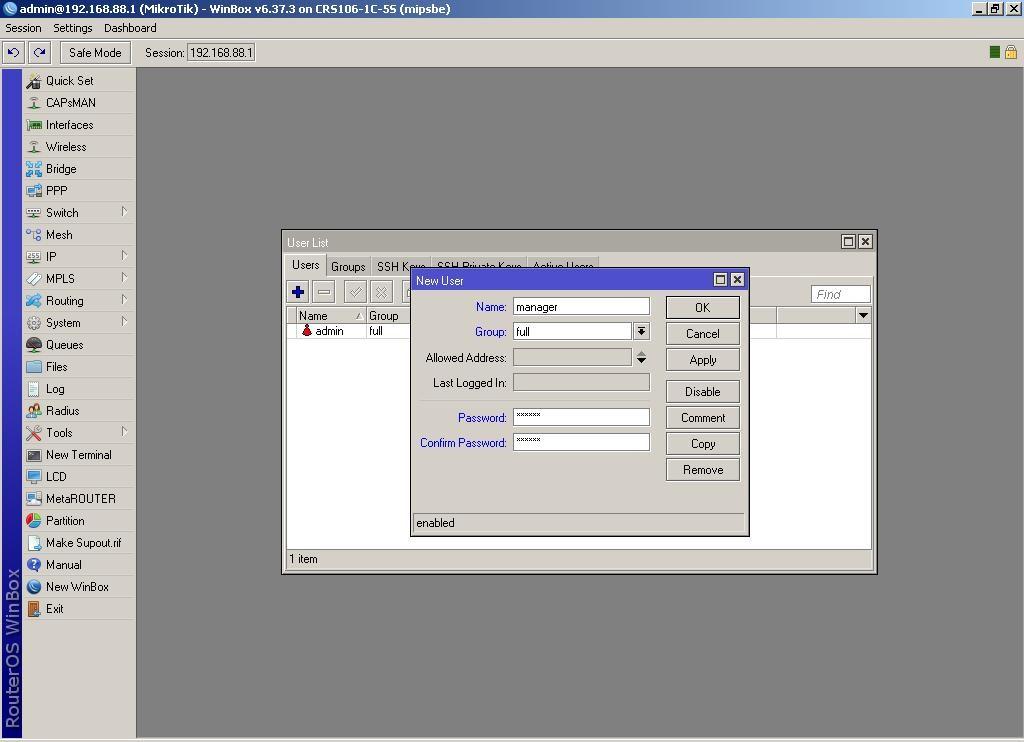 WinBox добавляем нового пользователя