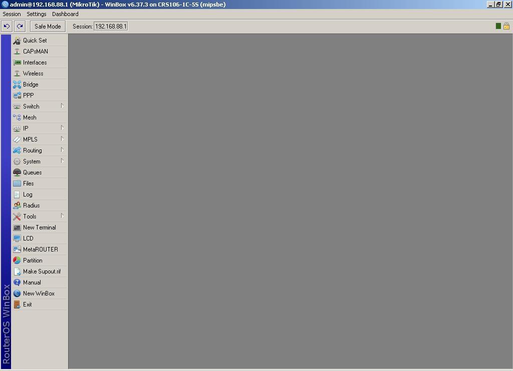 Интерфейс конфигурации устройства CRS-106-1C-5S