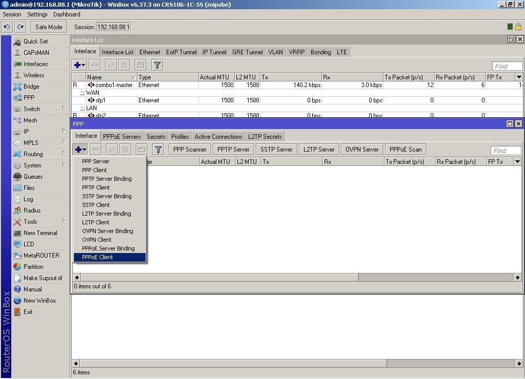 WinBox добавляем новый интерфейс «PPPoE client»