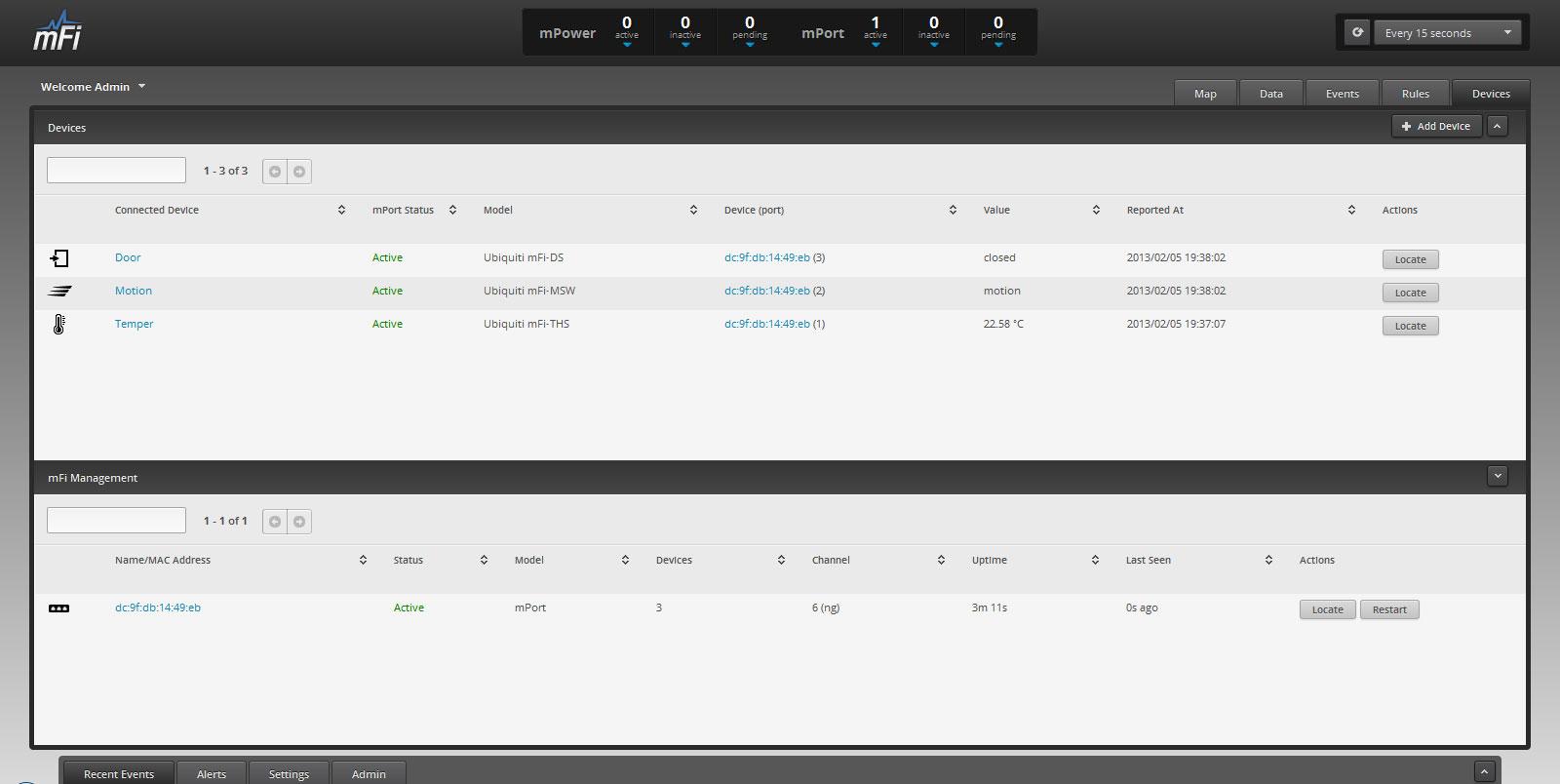 Ubiquiti Networks mController статус и состояние сенсоров