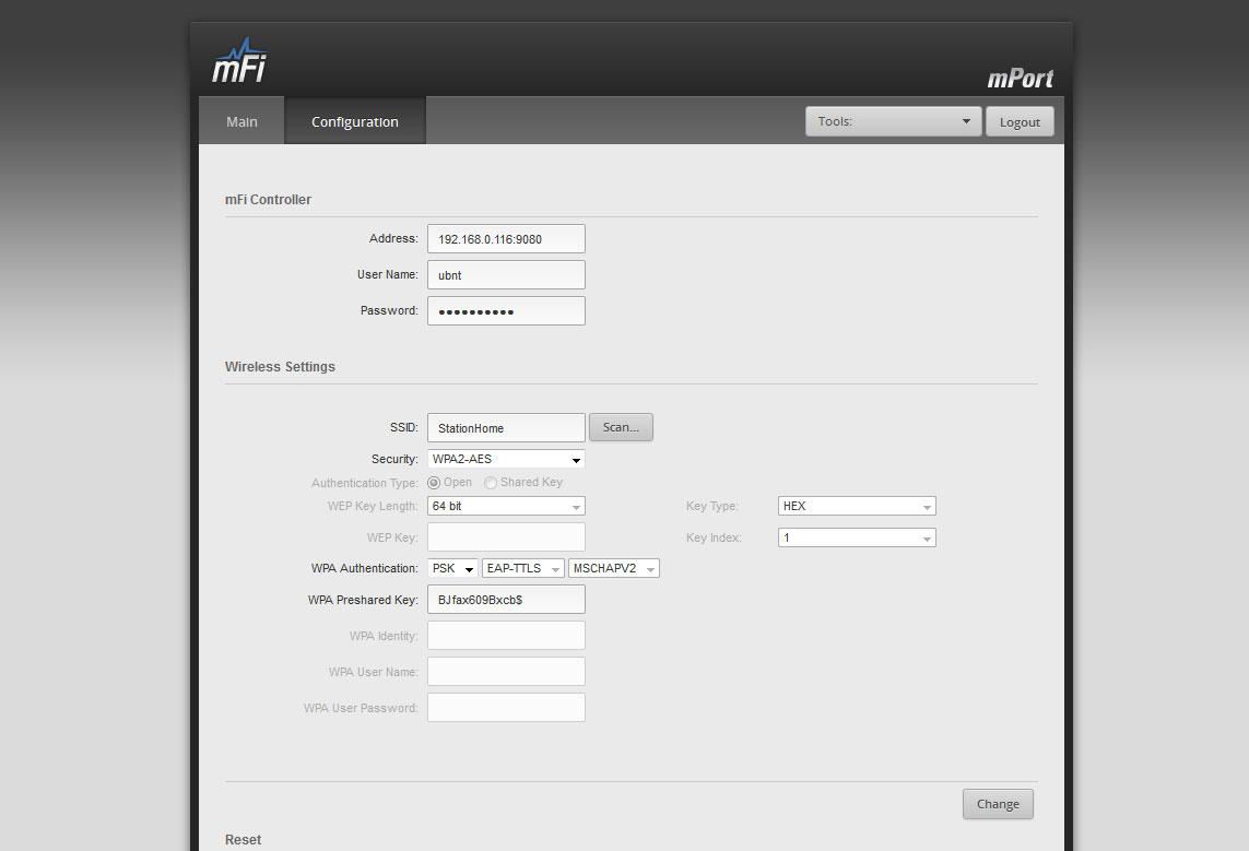 Ubiquiti Networks mPort web-интерфейс