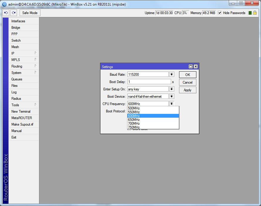 RB2011 изменение частоты процессора