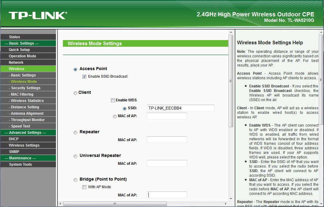 TP-Link WA5210G web-интерфейс