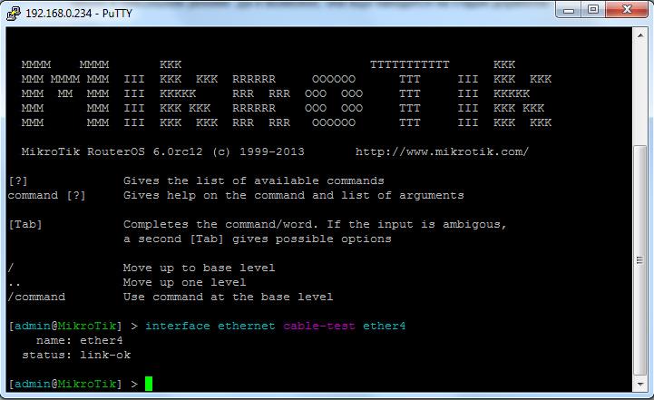 RouterOS: Cable Diagnostics pic 1