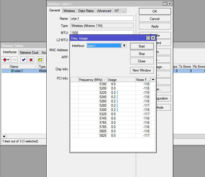 Выбор частот канала в RouterOS