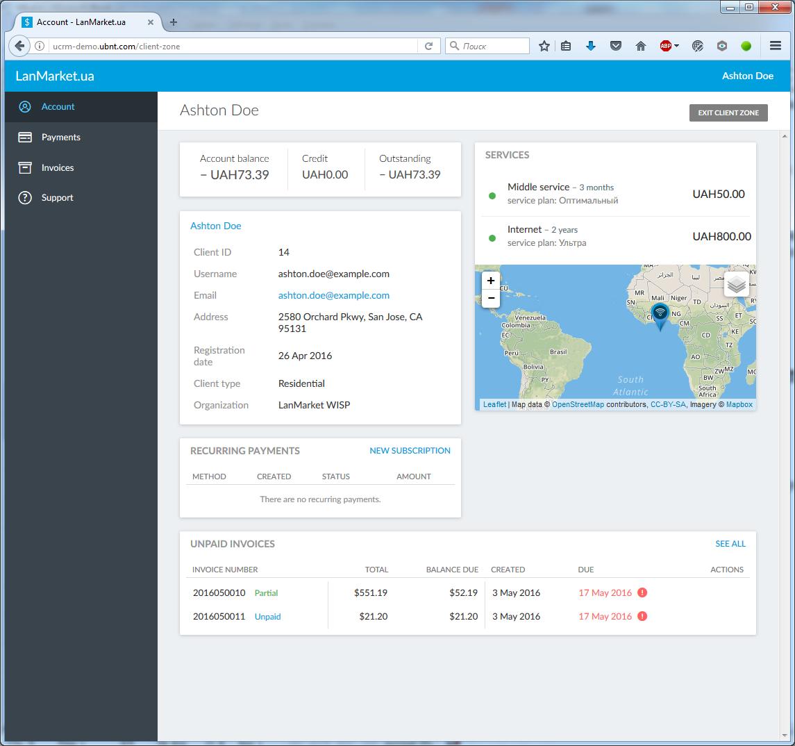 Знакомство с UCRM: программный комплекс для управления сетью WISP на базе решений Ubiquiti