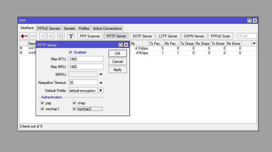 RouterOS VPN активация PPTP сервера